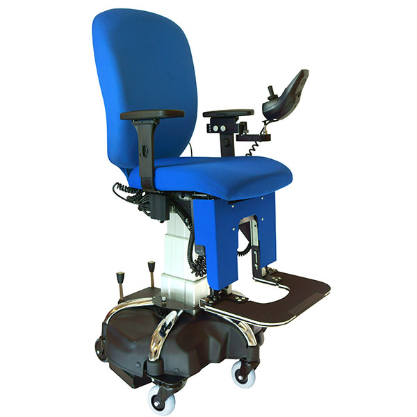 the eLift400-R powered office chair in blue and black upholstery