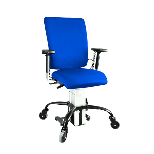 the eLift400-R powered office chair in blue upholstery