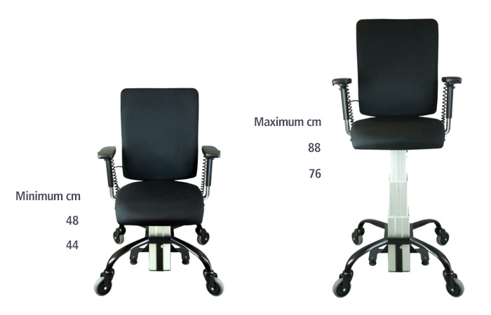 The range of height settings for the SitAbility eLift400-R powered office chair