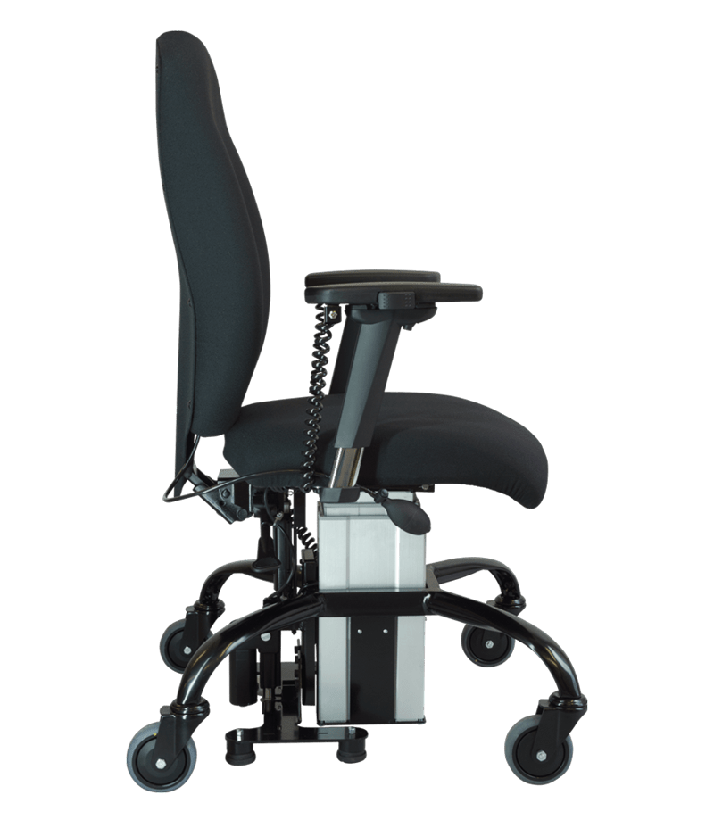 Sitability eLift-Tilt powered lift and tilt office chair in profile view
