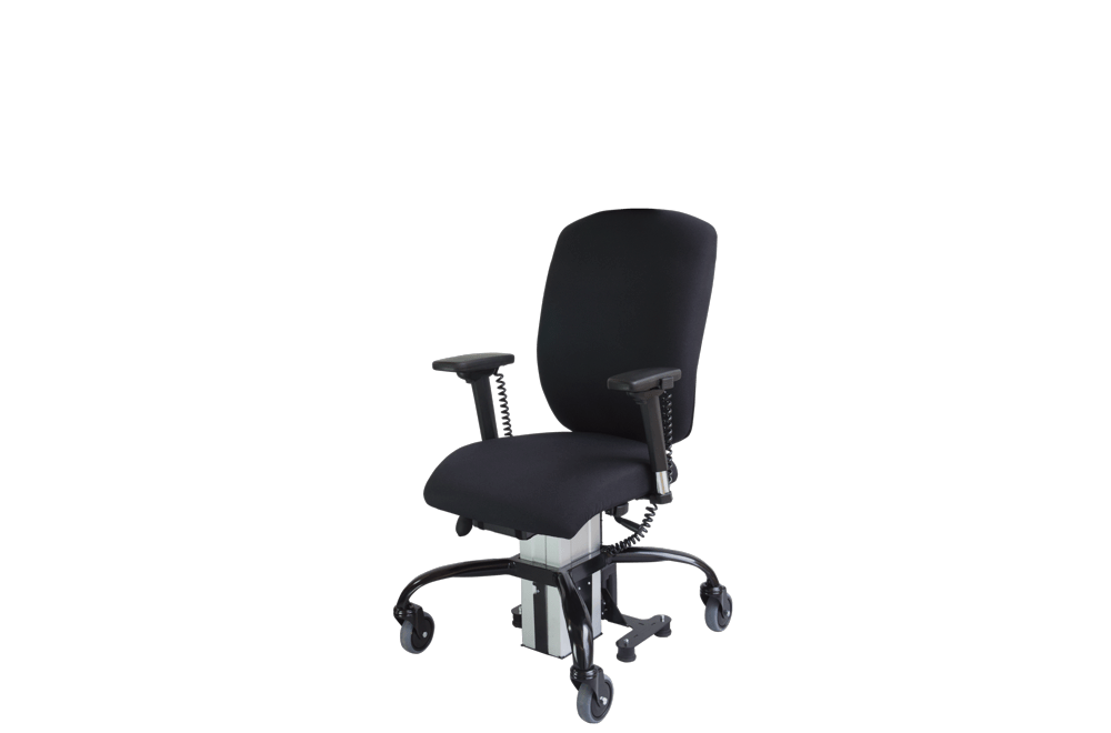 the Sitability eLift-Tilt powered lift and tilt office chair in its low position