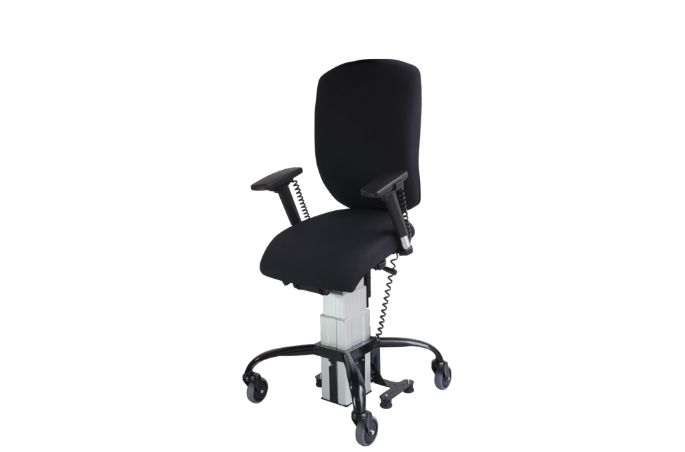 the Sitability eLift-Tilt powered lift and tilt office chair in its mid position