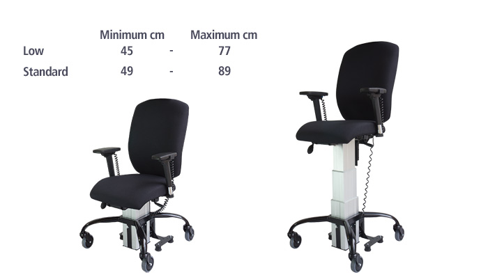 the Sitability eLift-Tilt powered lift and tilt office chair at three different height levels