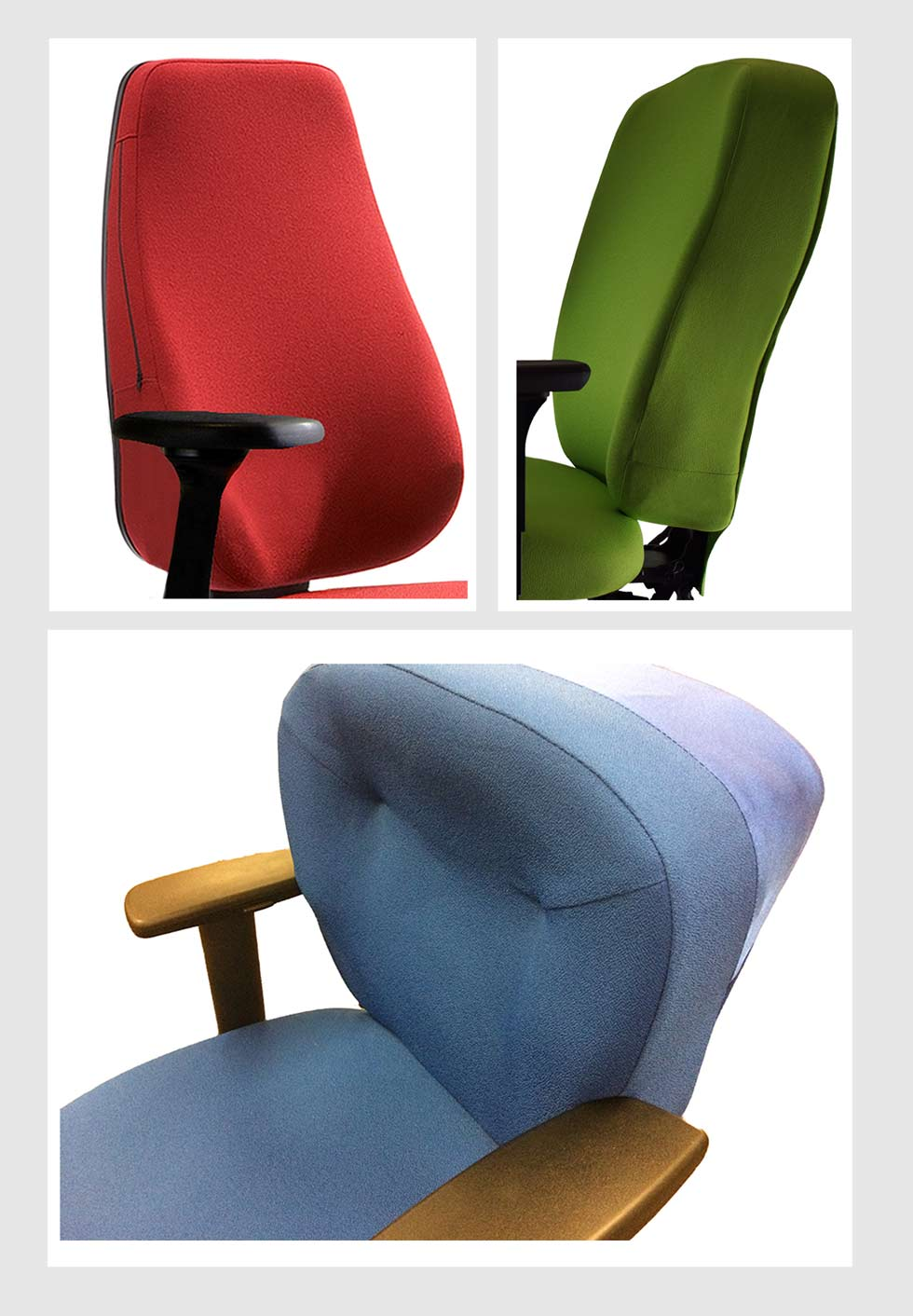 a montage of images showing Sitability's bespoke Confor-Fit upholstery on three different chair designs
