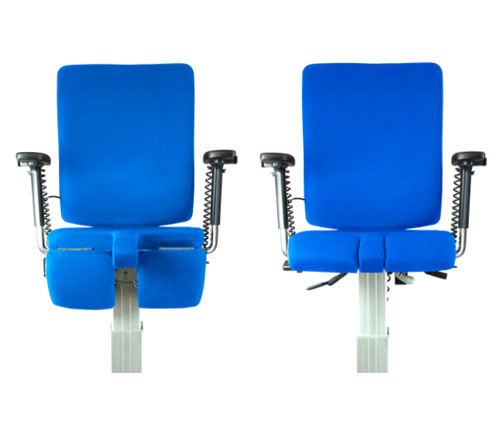 The stand-assist drop front, allowing users to lock their knees and walk away unaided